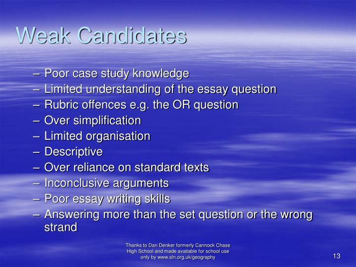Weak Candidates