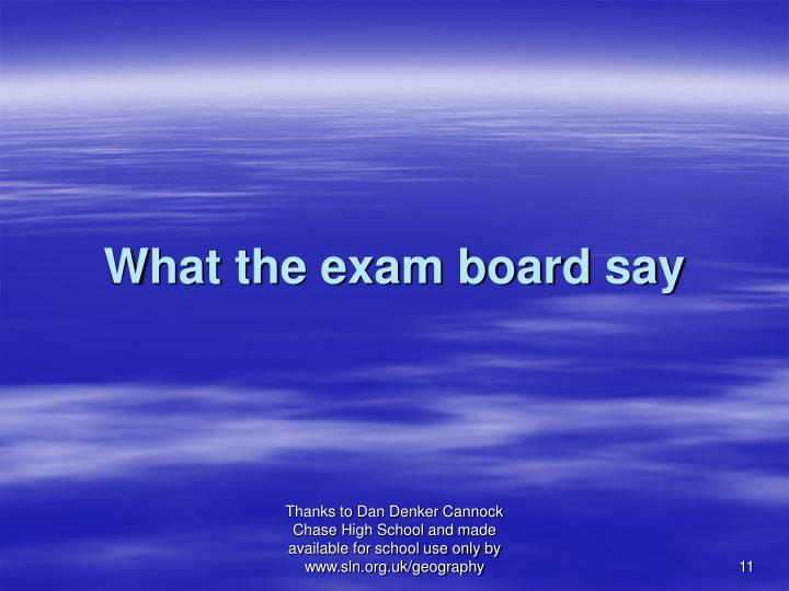 What the exam board say