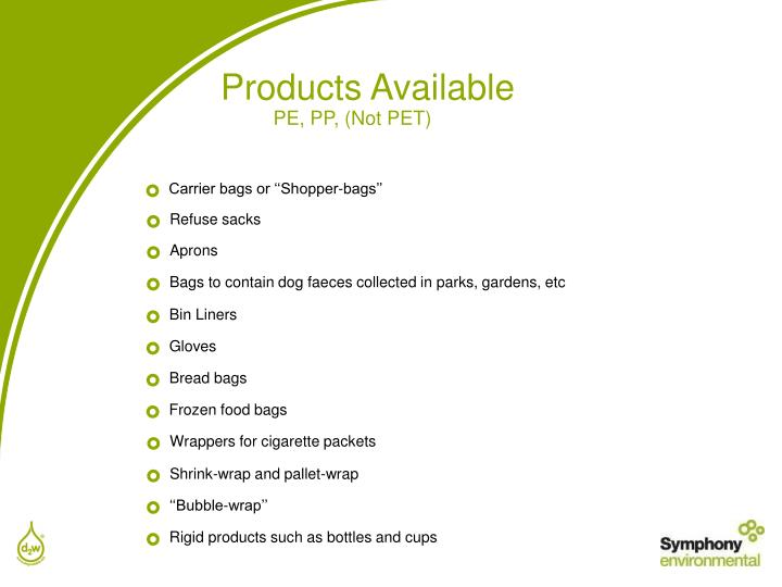 Products Available