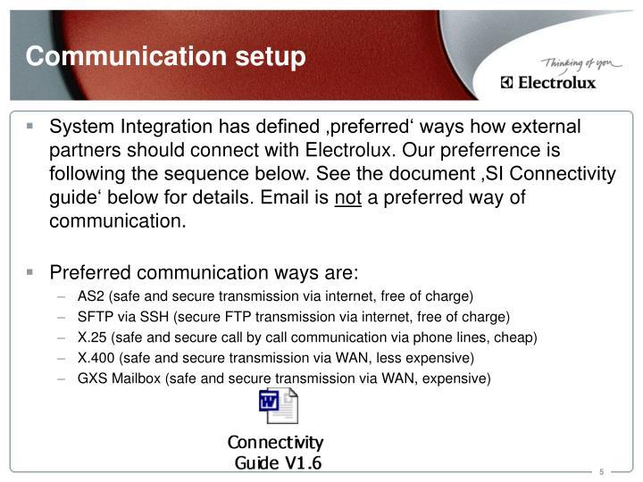 Communication setup