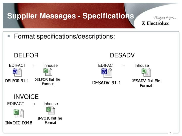 Supplier Messages - Specifications