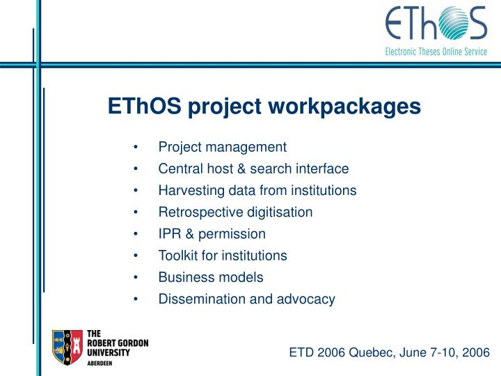 EThOS project workpackages