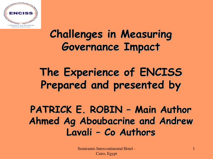 Challenges in Measuring Governance Impact