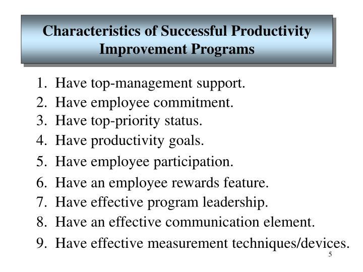 Characteristics of Successful Productivity