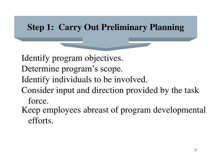 Step 1:  Carry Out Preliminary Planning