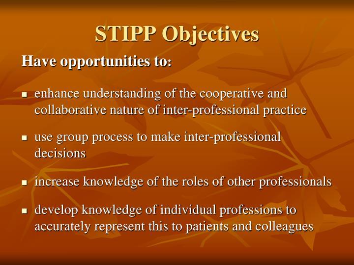 STIPP Objectives
