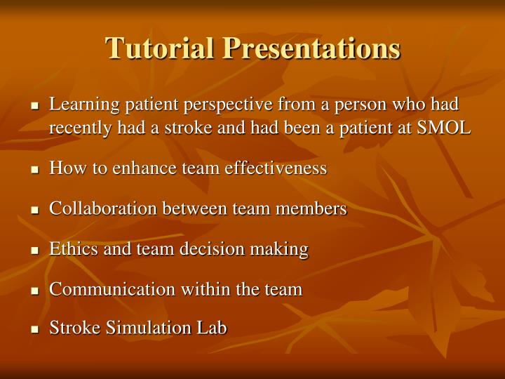 Tutorial Presentations