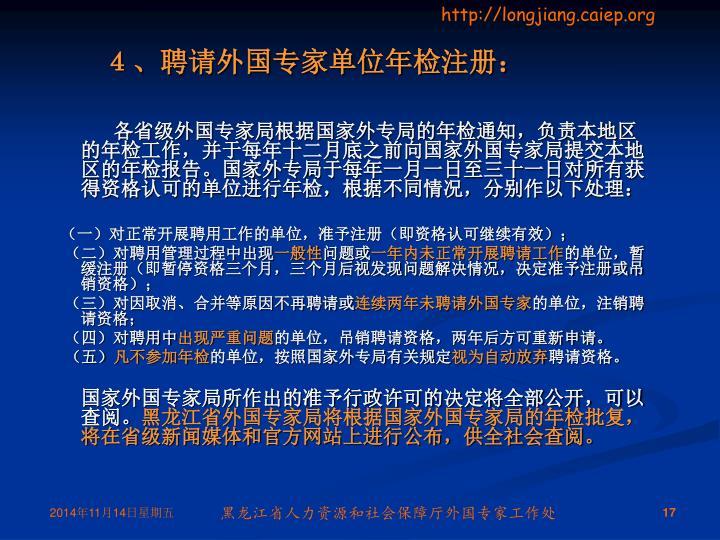 4、聘请外国专家单位年检注册: