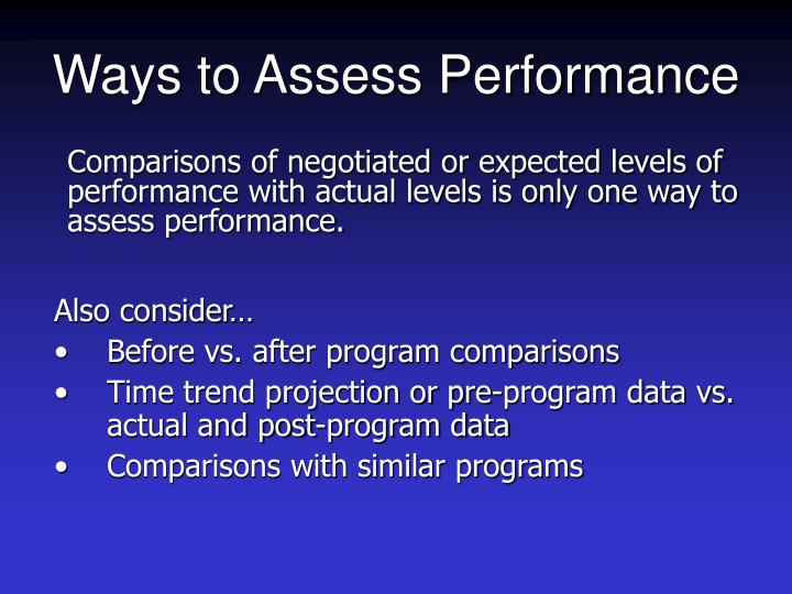 Ways to Assess Performance