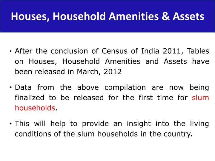 Houses, Household Amenities & Assets