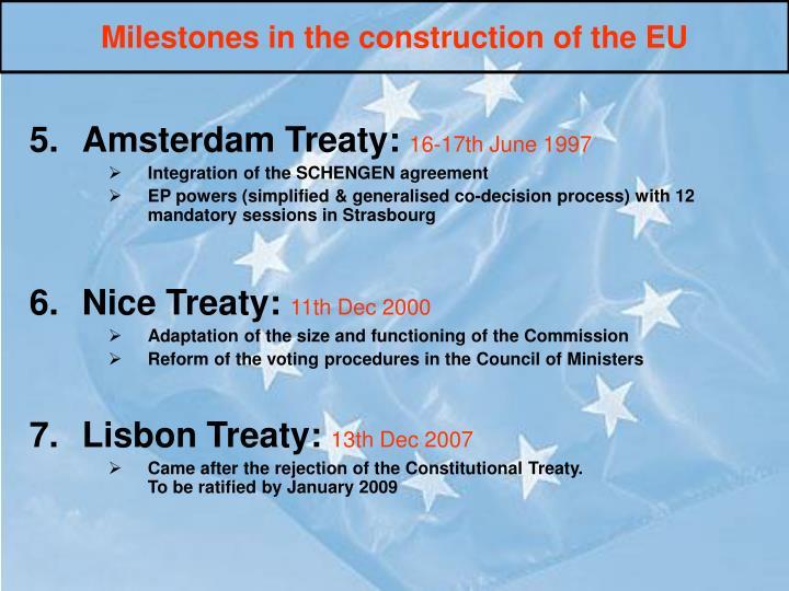 Milestones in the construction of the EU