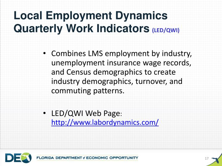 Local Employment Dynamics Quarterly Work Indicators