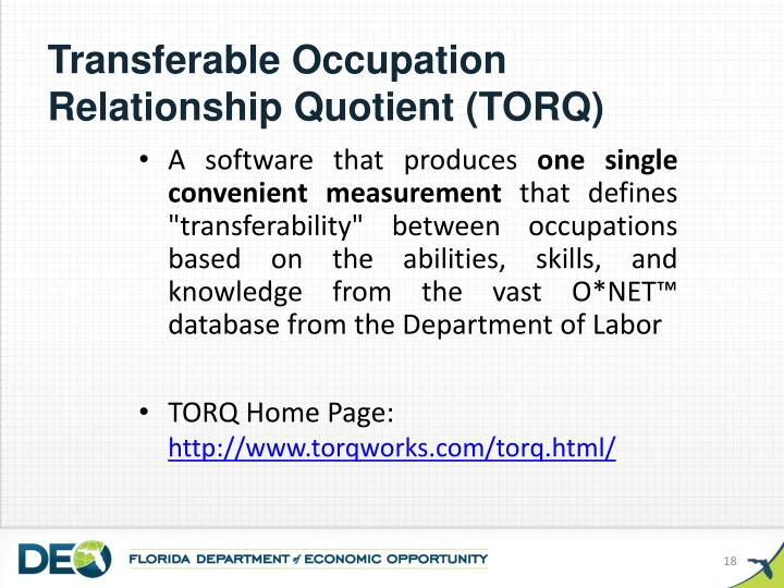Transferable Occupation Relationship Quotient (TORQ)