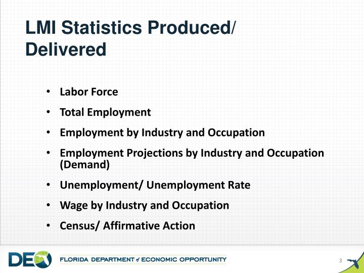 LMI Statistics Produced/ Delivered
