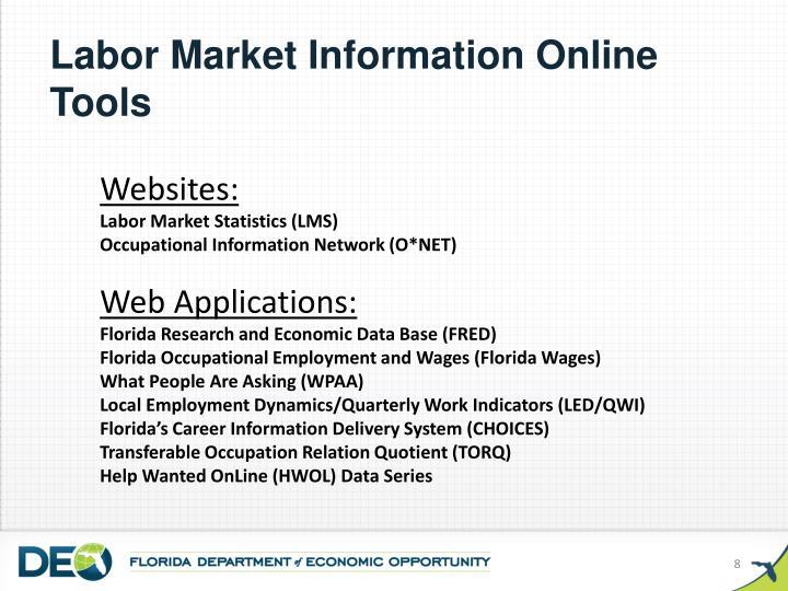 Labor Market Information Online Tools