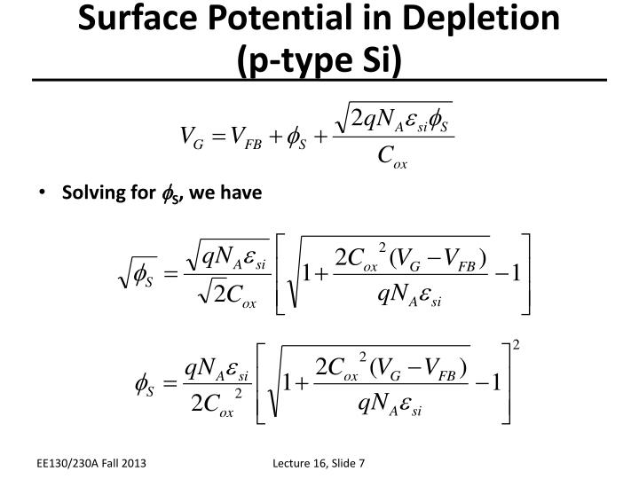 Surface Potential in Depletion
