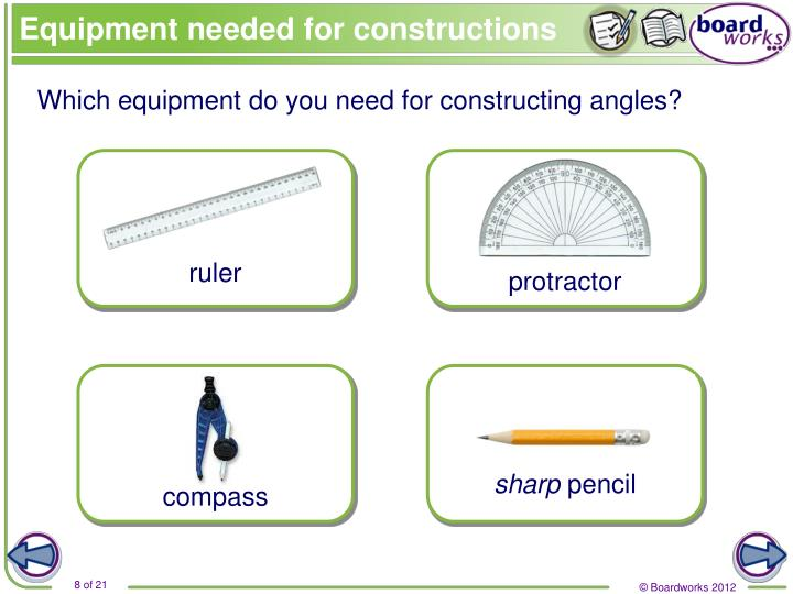 Equipment needed for constructions