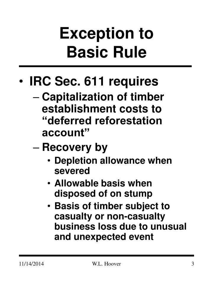 Exception to basic rule