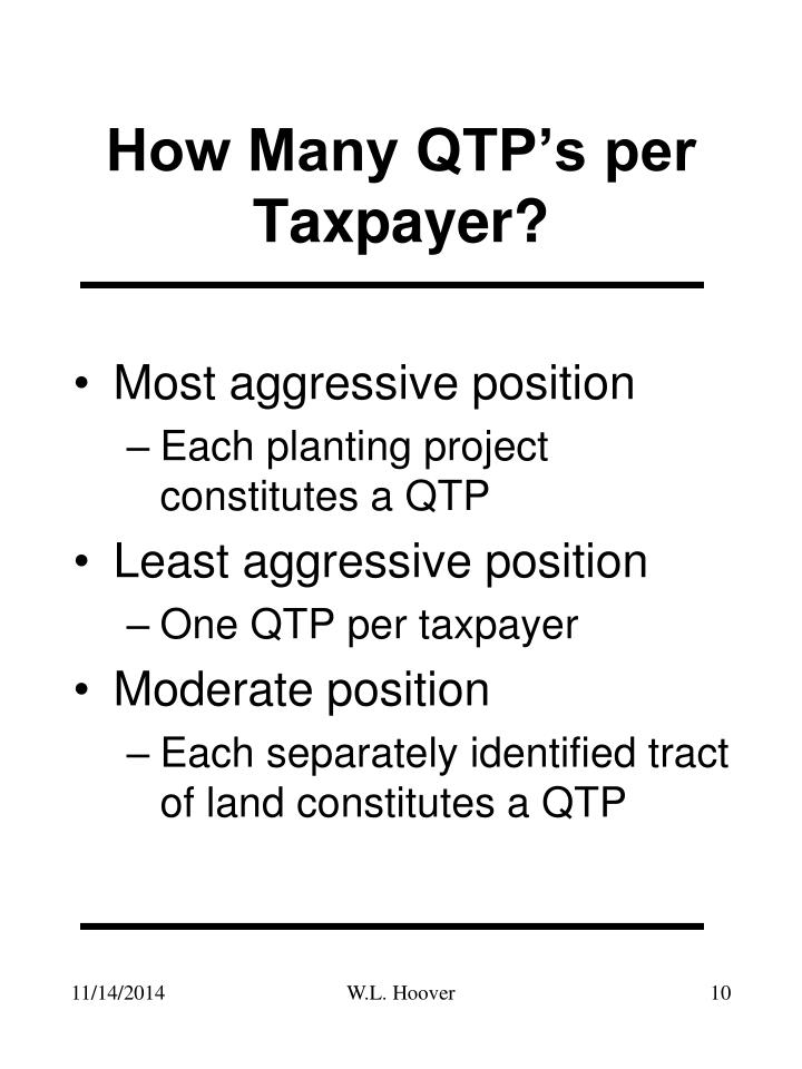 How Many QTP's per Taxpayer?