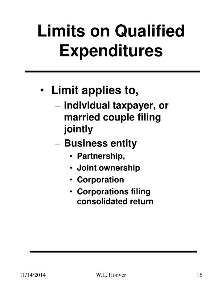 Limits on Qualified Expenditures