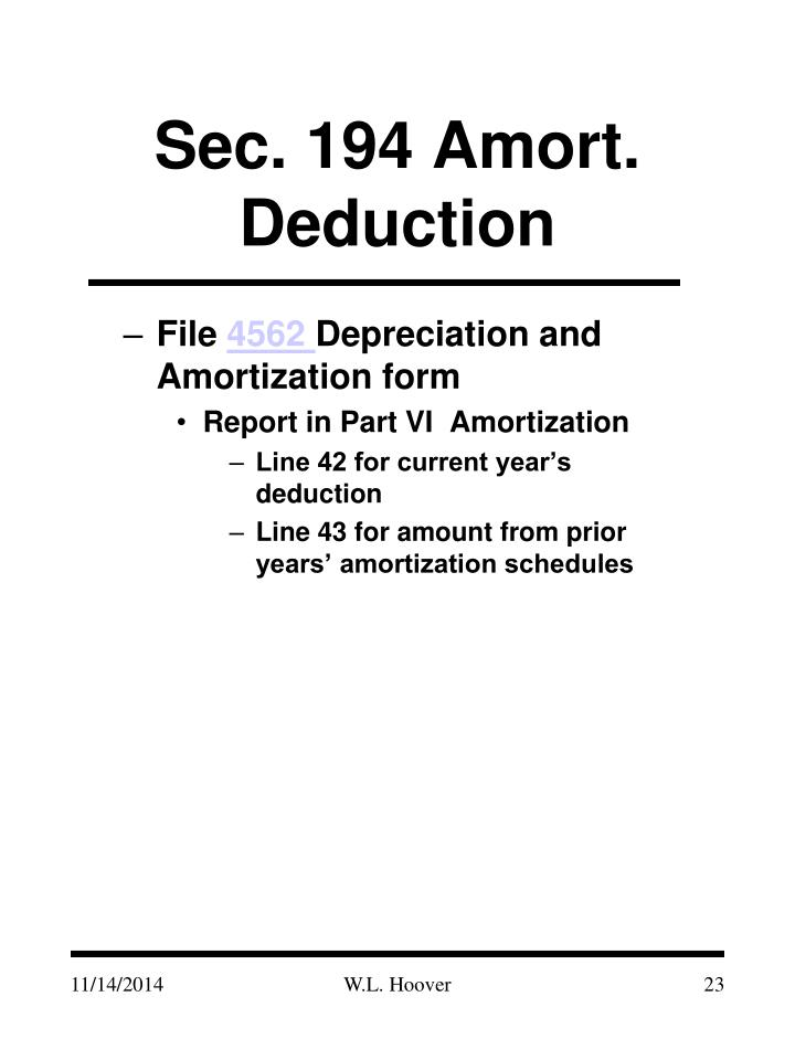 Sec. 194 Amort. Deduction