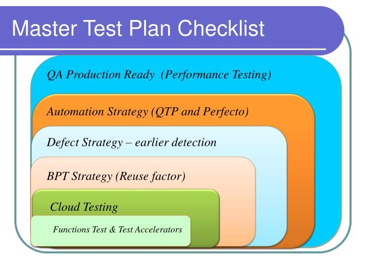 Master Test Plan Checklist