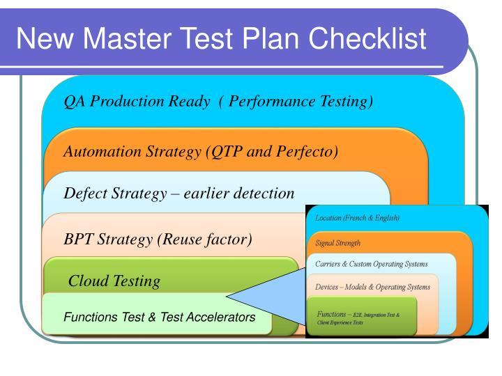 New Master Test Plan Checklist