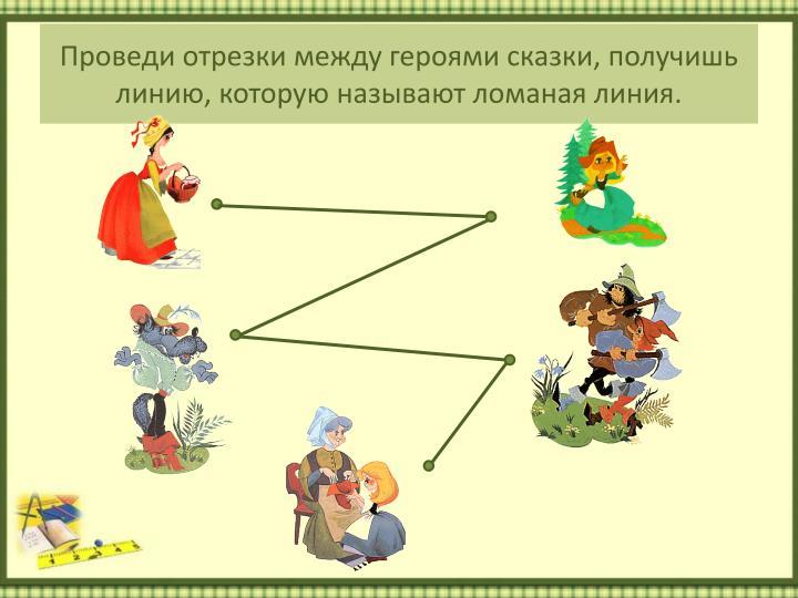 Проведи отрезки между героями сказки, получишь линию, которую называют ломаная линия.
