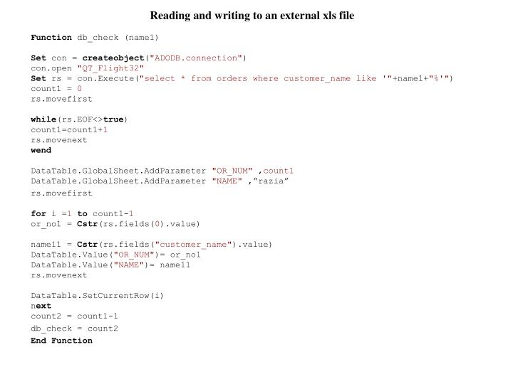Reading and writing to an external xls file