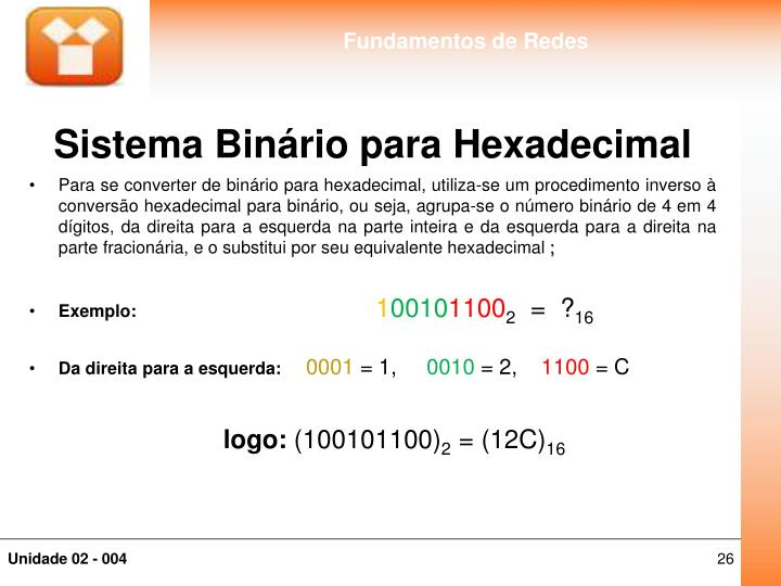 Sistema Binário para Hexadecimal