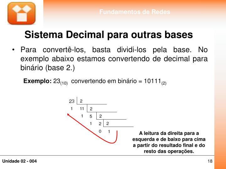 Sistema Decimal para outras bases
