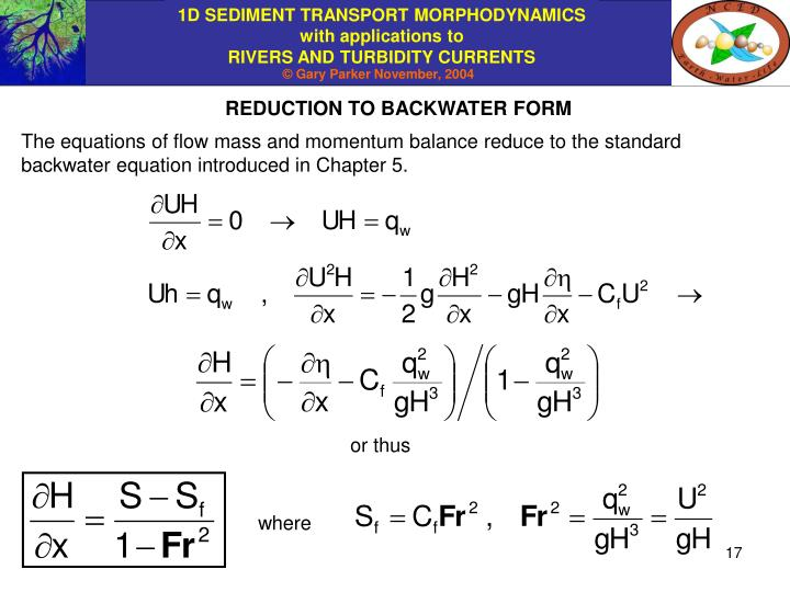 REDUCTION TO BACKWATER FORM