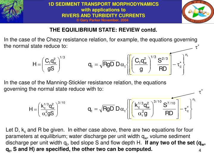 THE EQUILIBRIUM STATE: REVIEW contd.