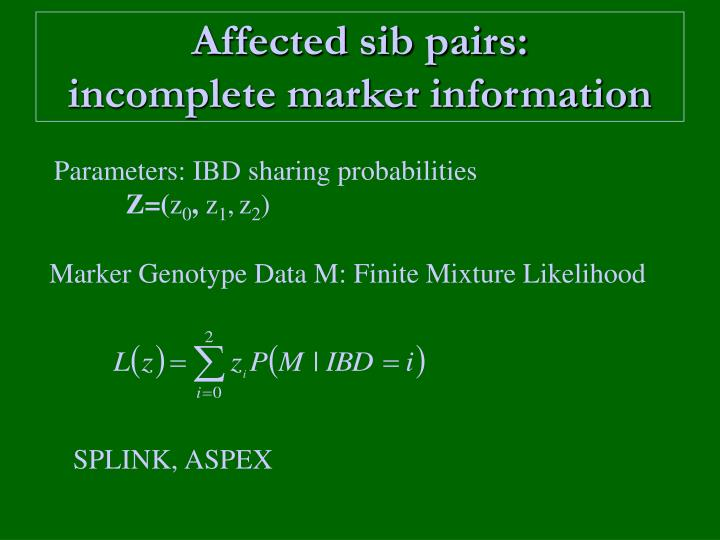 Affected sib pairs: