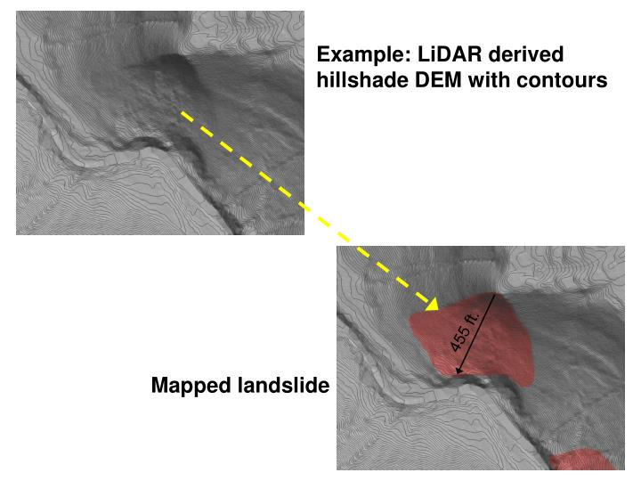 Example: LiDAR derived hillshade DEM with contours
