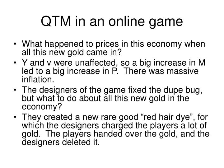 QTM in an online game