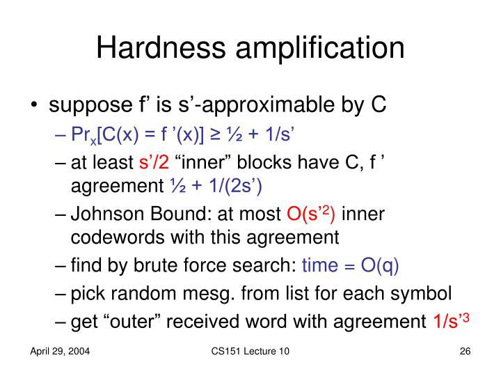 Hardness amplification