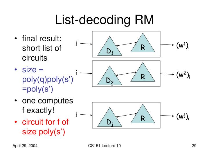 List-decoding RM