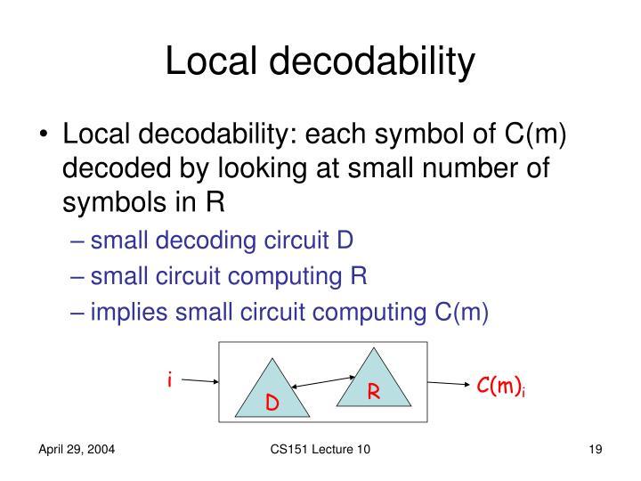 Local decodability