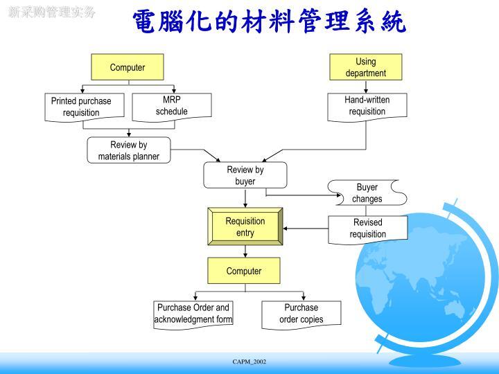 電腦化的材料管理系統
