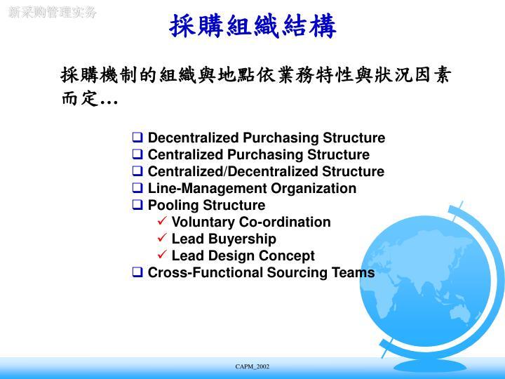 採購機制的組織與地點依業務特性與狀況因素