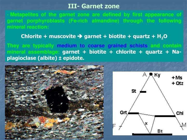 III- Garnet zone
