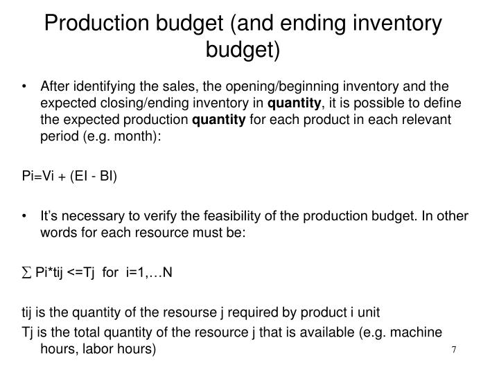 Production budget (and ending inventory budget)