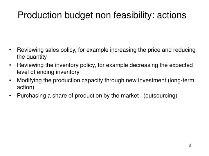 Production budget non feasibility: actions