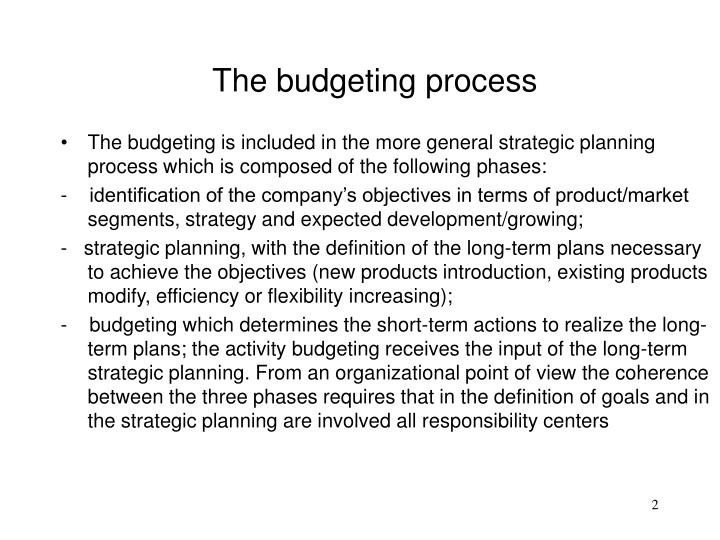 The budgeting process