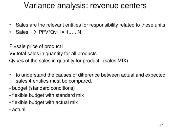 Variance analysis: revenue centers