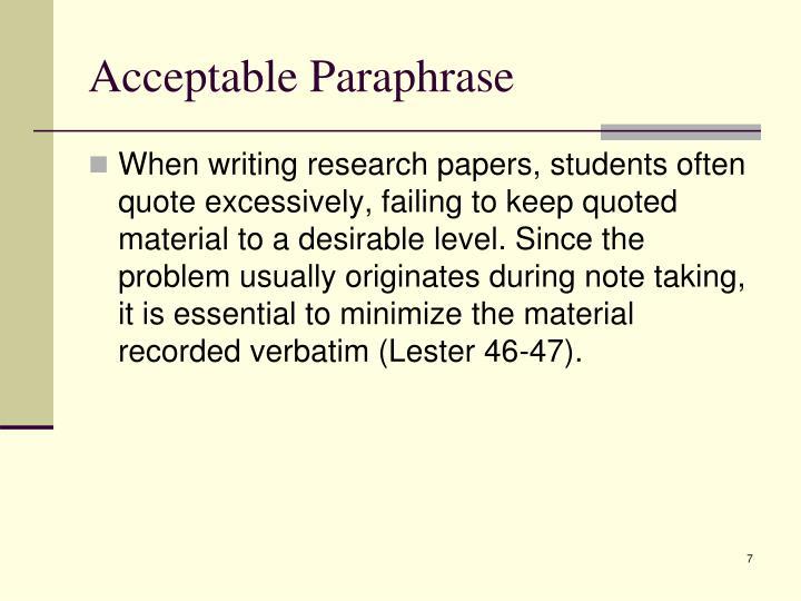 Acceptable Paraphrase