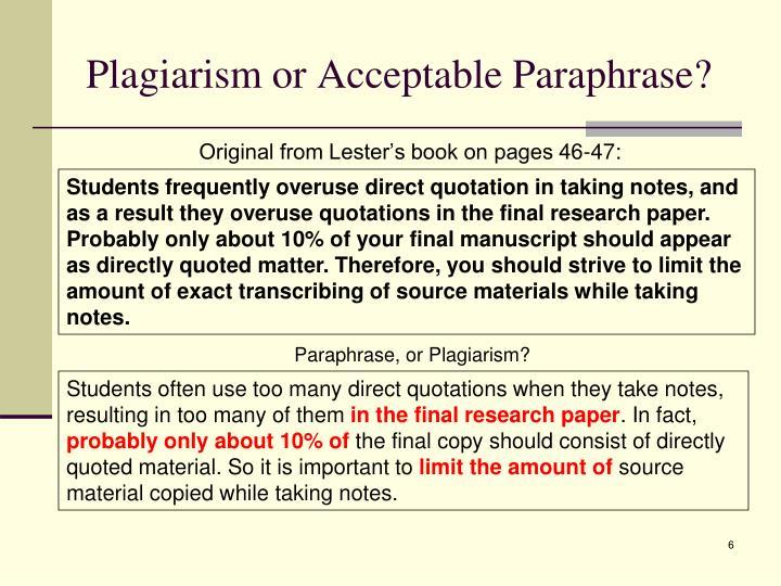 Plagiarism or Acceptable Paraphrase?