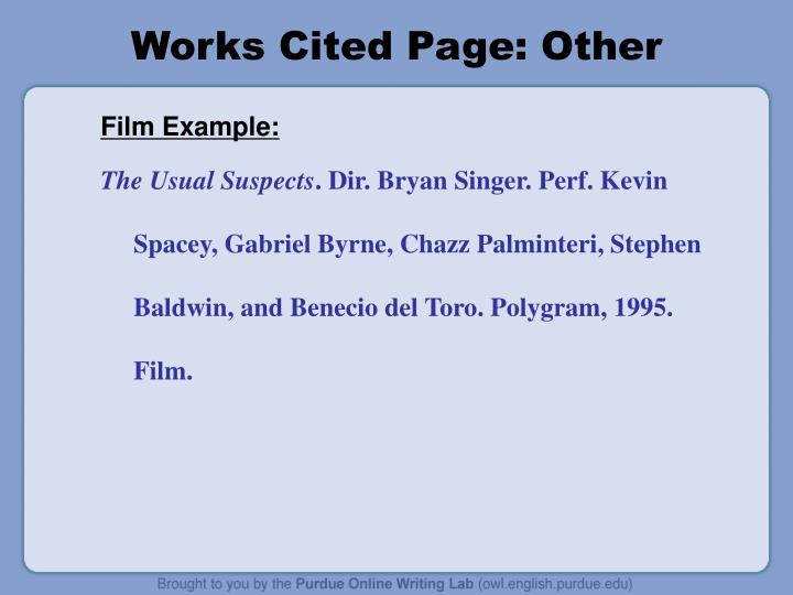 Works Cited Page: Other