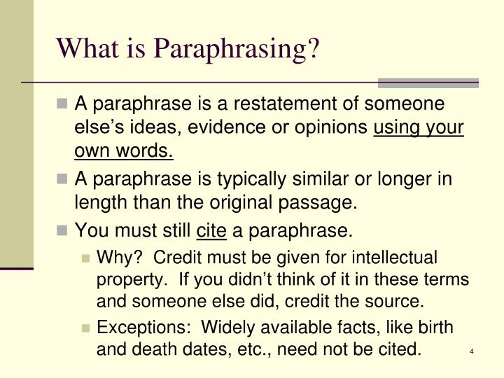What is Paraphrasing?